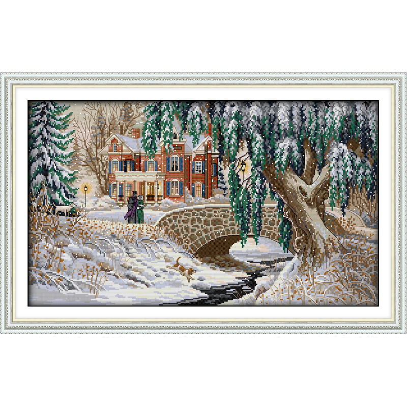 Everlasting love Christmas Snow-covered landscape(5) Ecological Chniese cotton Cross Stitch 11CT stamped Printed New store sales