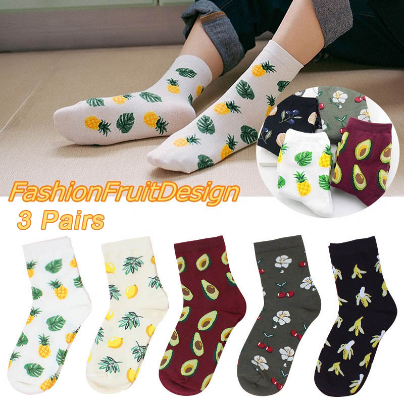 3 Pairs Socks Fruit Pattern Cute Warm Breathable Elasticity For Autumn Winter Women -MX8