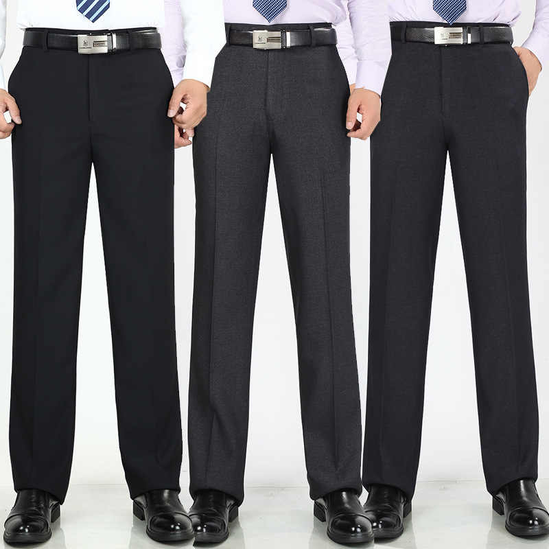 3b864cd8 Spring summer men's office trousers high waist thin loose business casual  suit pants Anti-wrinkle