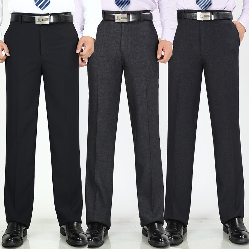 Spring Summer Men's Office Trousers High Waist Thin Loose Business Casual Suit Pants Anti-wrinkle Professional Dress Trousers
