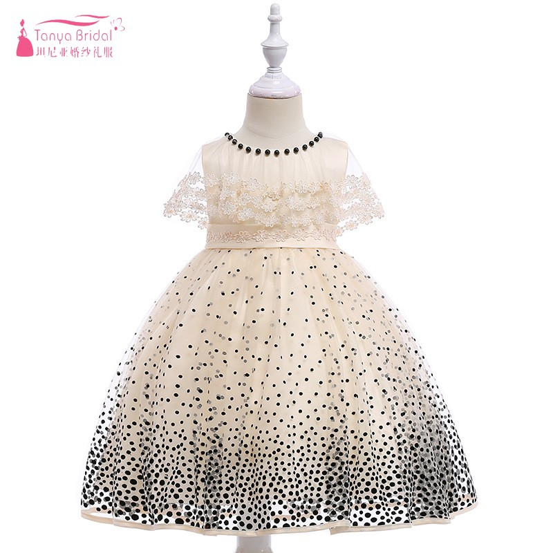 Beige A Line   Flower     Girls     Dress   For Wedding Party Gowns 2019 New elegant Dots vestido de daminha ZF114