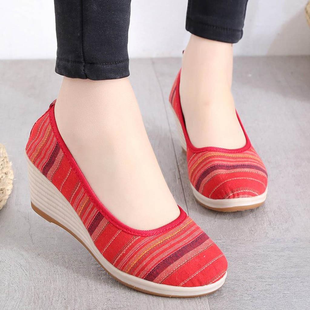 marron Mocassins Casual vert rouge Rayé Femme Style Muqgew Sneakers Compensées Simples Rond Nouvelle Ethnique Bleu Mode Bout Chaussures Coins bYyvf67g