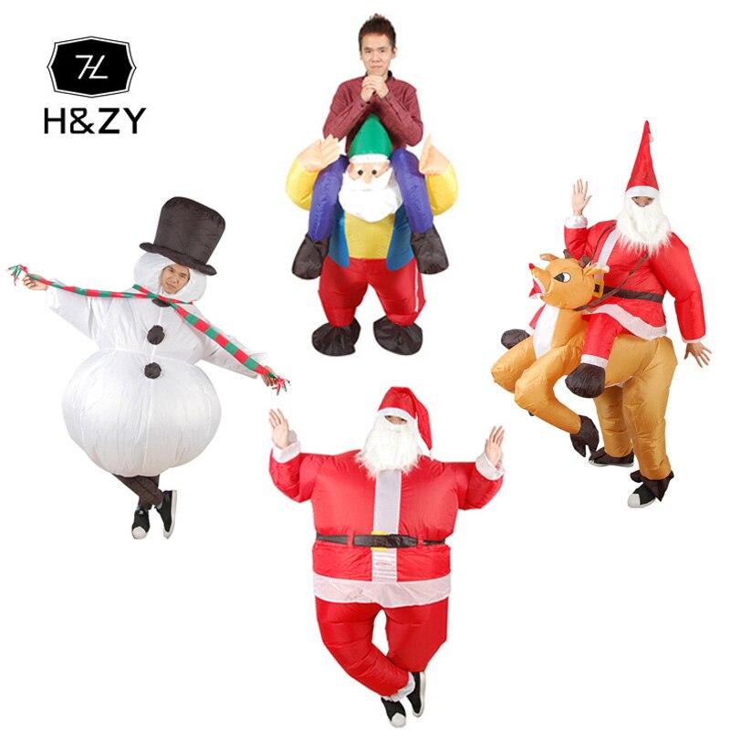 H & ZY Unisexe Santa Claus Cosplay Costumes De Noël Bonhomme De Neige Gonflable Costumes Tour Sur Me Transporter Dos Drôle de Partie de Robe up