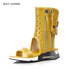 Summer New Fashion Real Leather Women Summer Boots Flat with Peep Toe Buckle Zipper Women Sandals Hole Shoes Ladies Casual Shoes real picture white crystal women sandals zipper women shoes flats casual vacation shoes women wedding shoes flat summer shoes