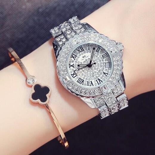 מכירות חמות! נשים באיכות גבוהה שעונים אופנה גברת שעון יהלומים מלאכותיים אישה יוקרה Relojes שעוני יד Dropship שעון שמלה מזדמן
