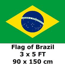 Brazil Flag 3` x 5` FT 100D Polyester 2018 World Cup Flags Brasil Brazilian Flags and Banners Country Banner National Flag(China)