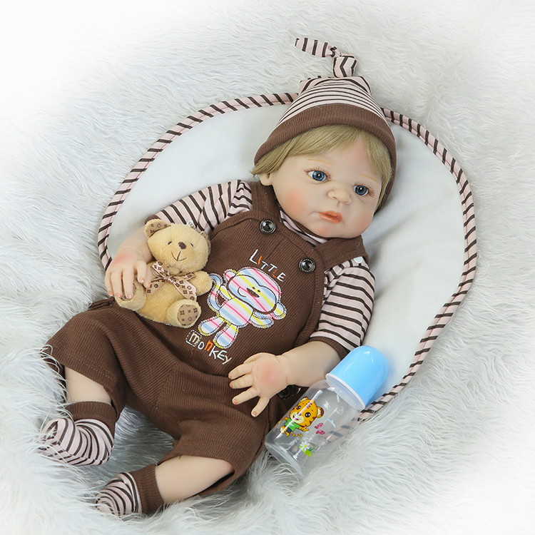 Full Body Silicone Reborn Baby Doll Toy 55cm Nyfödda Pojke Babies Doll Lovely Födelsedagspresent Mode Play House Toy Girl Brinquedos