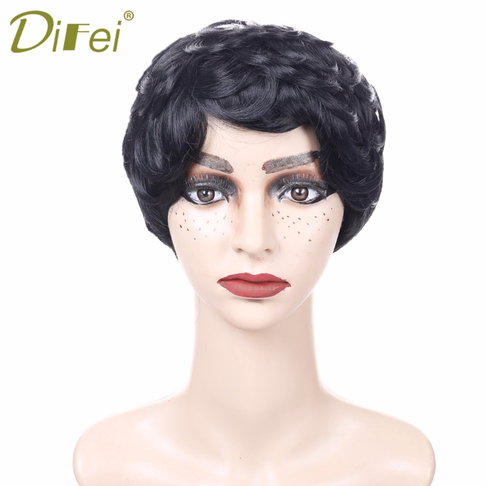 DIFEI Short Synthetic Curly Bob Wigs for Black Women Cheap Side Part Short Curly Bob Wigs Jet Black Color