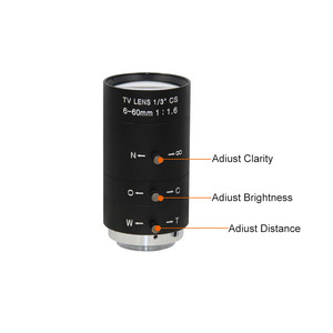 Image 2 - 6 60mm CS C Mount Lens Manual IRIS ZOOM Varifocal F1.6 for CCTV Camera Industrial Microscope