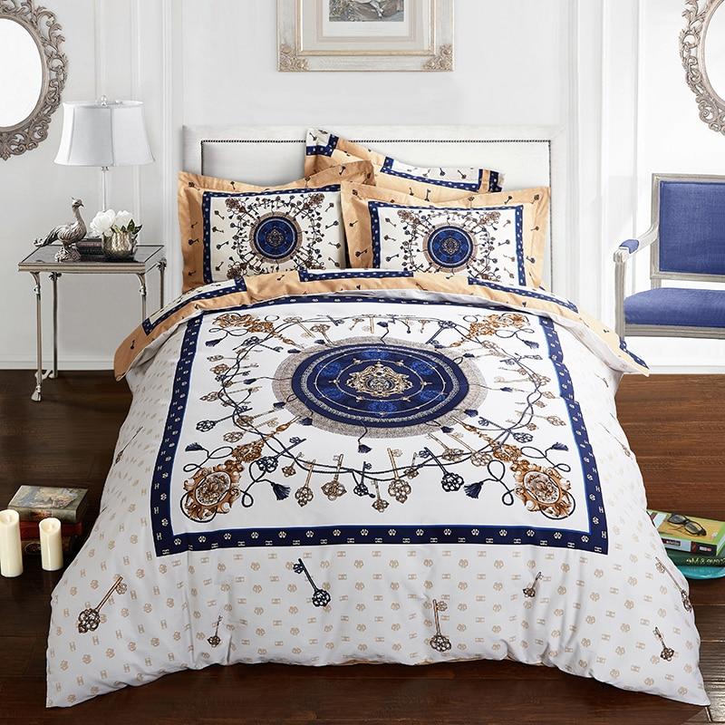 2017 New Bedding Set cotton Bed Sheets white Boho Duvet Cover Flat Bedspread Sets Home Textile Juegos de Sabanas Wholesale