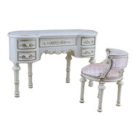 Fine BJD 1:6 DOLL miniature Furniture Exquisite white classical Desk and chair set