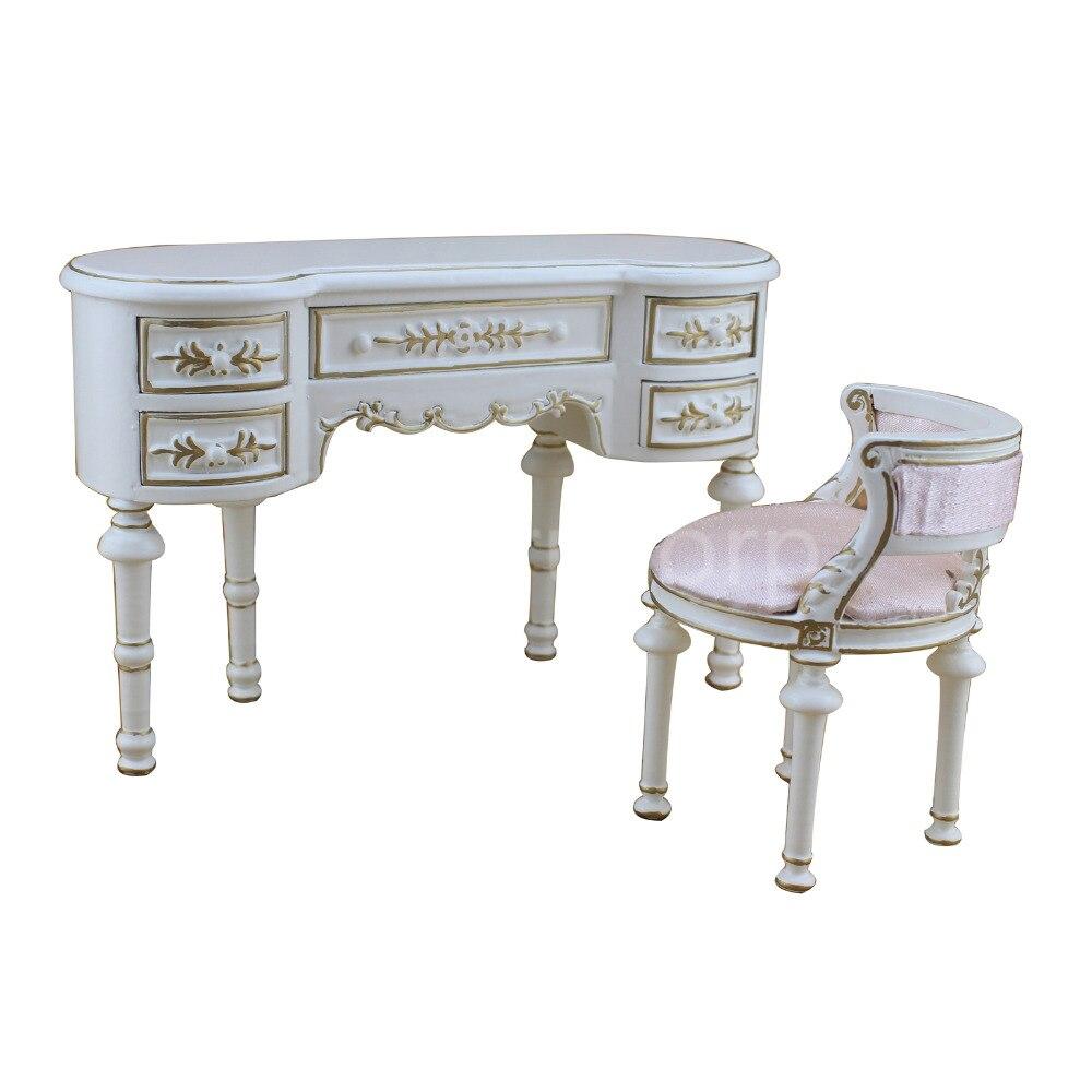 Fine BJD 1:6 POUPÉE miniature Meubles Exquis blanc classique Bureau et chaise ensemble