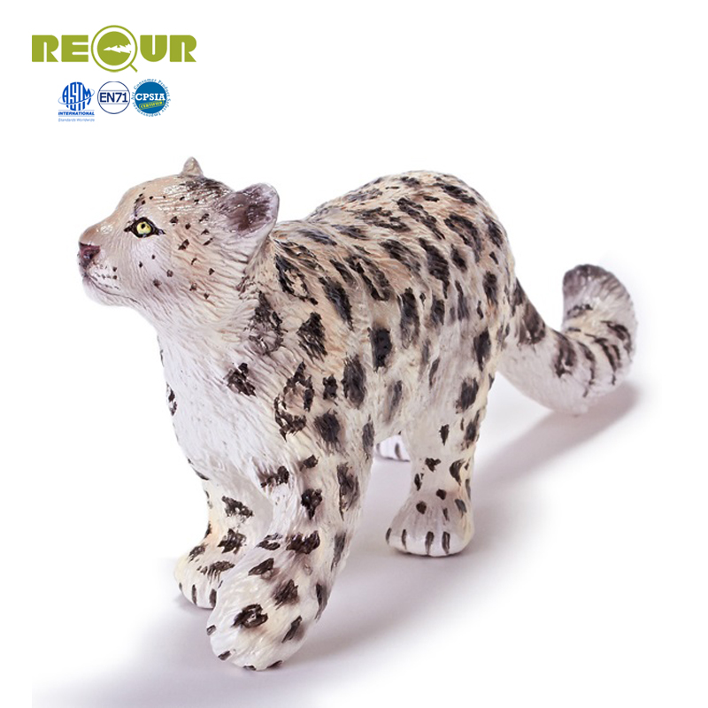 Recur Snow leopard toy wild Animal Model Hand Painted Action Figure Soft Toys For Children Education and collectors recur ancient animal model saber toothed tiger model hand panited pvc animal figure toy gift collection for kids and collectors