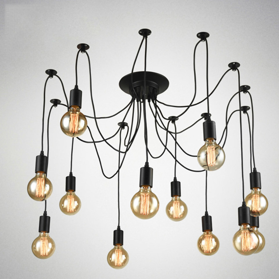 OYGROUP Vintage Loft Spider Chandeliers Nordic Ceiling Lamps 6/8/10/12/14 Heads DIY Home Decoration Lighting Adjustable Lights 10 lights creative fairy vintage edison lamp shade multiple adjustable diy ceiling spider pendent lighting chandelier 10 ligh