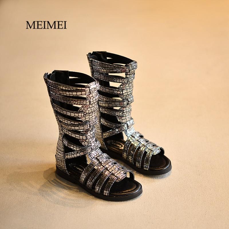 2017 New summer fashion hollow high barrel cool boots children sandals Rome girls sandals beach gladiator