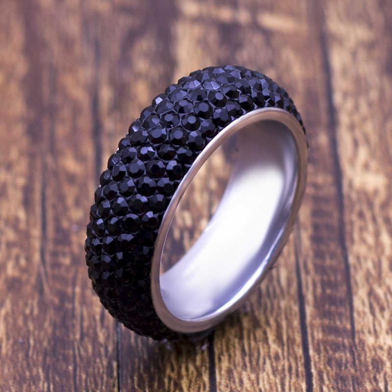 8 มิลลิเมตรคลาสสิกไทเทเนียมสีดำคริสตัลแหวนผู้หญิงผู้ชายแฟชั่นคลาสสิกเงินแหวน Rhinestone