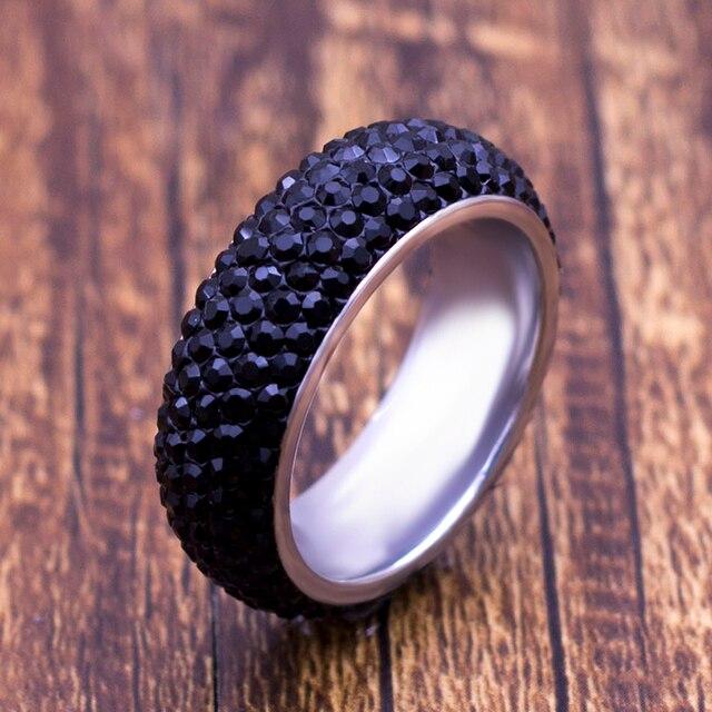 8a5cc61f26 US $0.59 40% OFF|8mm Classic Luxury Titanium Steel Black Crystal Rings for  Women Men Wedding Fashion Classic Silver Rhinestone Ring-in Wedding Bands  ...