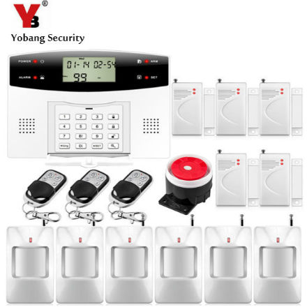YobangSecurity Metal Remote Control 7 Wired 99 Wireless Zone GSM Alarm System Home Security Alarm Systems with PIR Door Detector yobangsecurity wireles home gsm security alarm system metal remote control door window sensor pir motion detector wired siren
