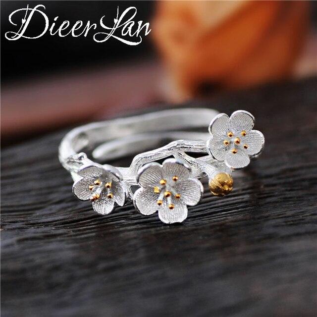 DIEERLAN Real Pure 925 Sterling Silver Big Flower Rings for Women Wedding Jewelr