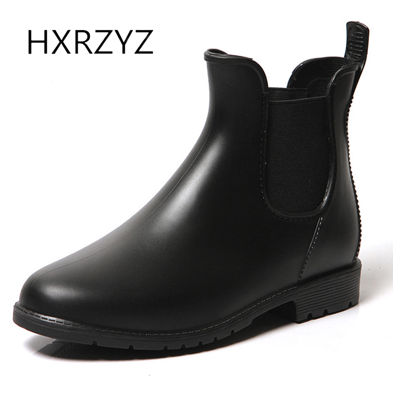 HXRZYZ women ankle rain boots Chelsea black rubber boots spring and autumn new fashion Slip-Resistant waterproof shoes women fashion waterproof chelsea rain boots women ankle rubber jelly shoes botas elastic band rainy shoes red black