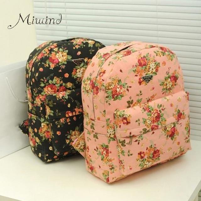 Vintage Korean Style Floral Printing Zipper Canvas Female Backpacks School Large Bags Teen Girls Laptop Travel Rucksack Mochilas