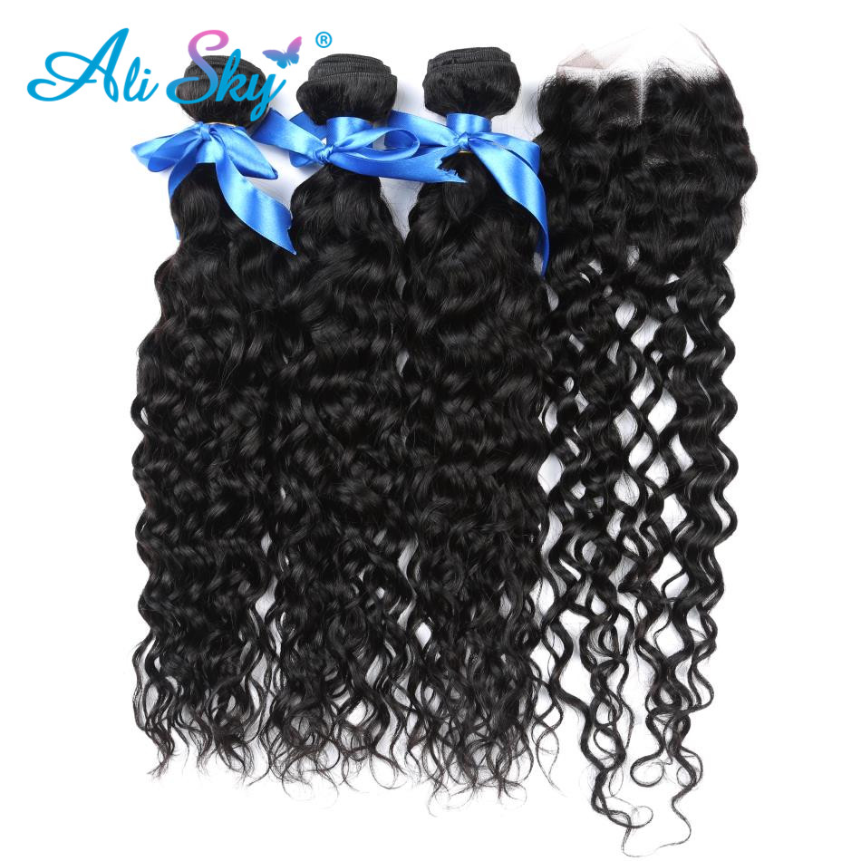 Alisky Malaysian Water Wave 3 Bundles With Lace Closure Free/Middle/Three Part 100% Human Hair Remy No Shedding Natural Black