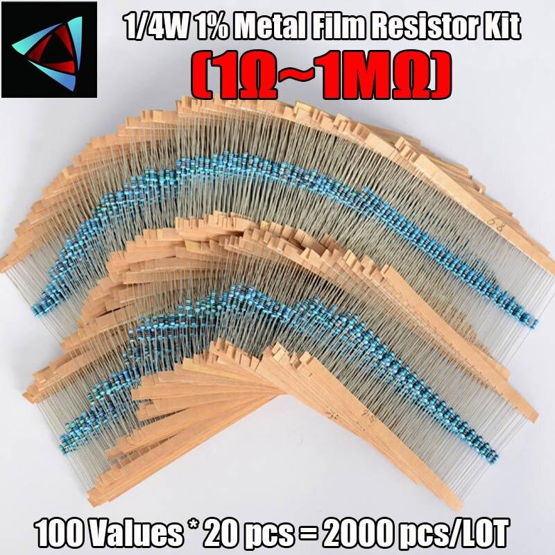 2000pcs 100 Values 1/4W 1% Metal Film Resistor Assorted Kit (1 Ohm~ 1M Ohm) Metal Film Resistor Kit Assortment Set