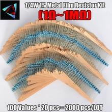 New Arrival 2000pcs 100 Values 1 4W 1M Metal Film Resistor Assorted Kit 1 ohm 1M
