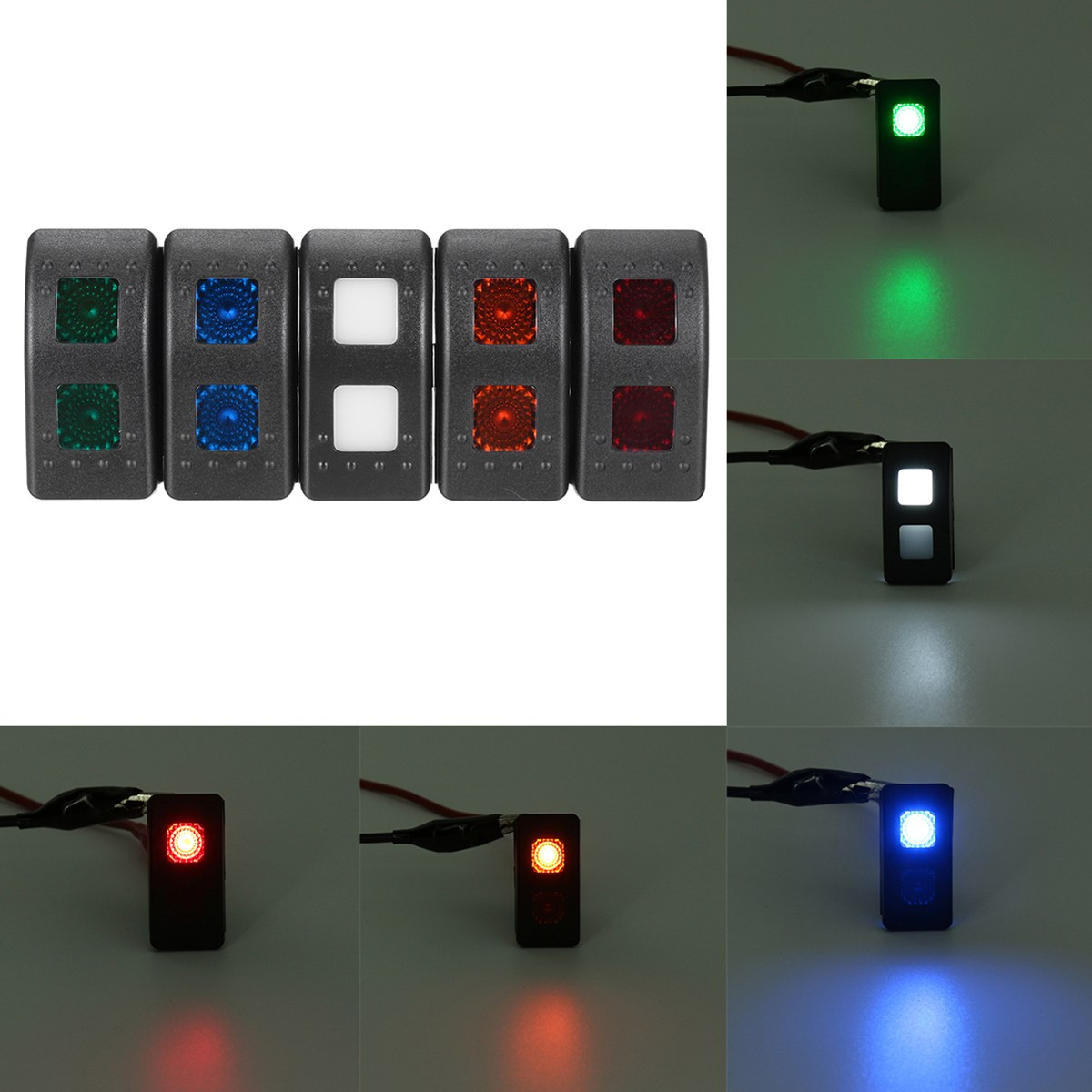 Universal 12 V 7 Pins LED Licht DPDT ON OFF ON Momentary ...