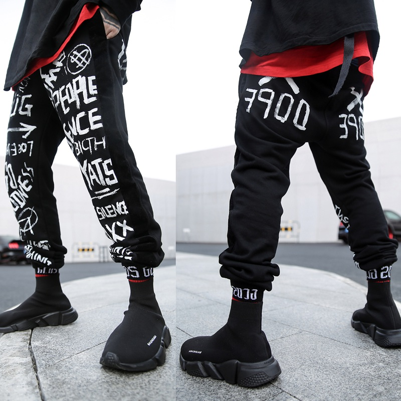 Cotton Hip Hop Sweatpants Streetwear Mens Joggers Pants