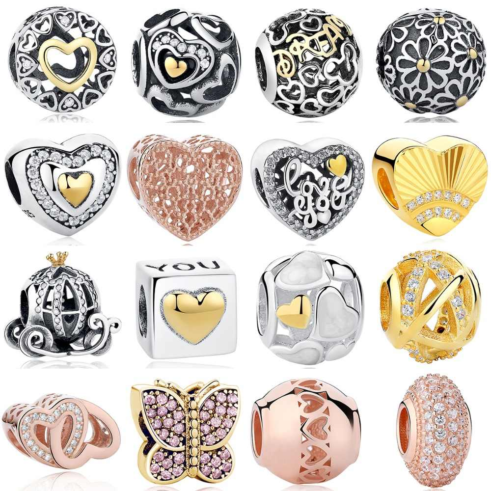 b9f3b1995 Fit Pandora Charms Bracelet Sterling Silver 925 Original Openwork Gold  Heart&Daisy&Butterfly DIY Beads Jewelry Authentic Making