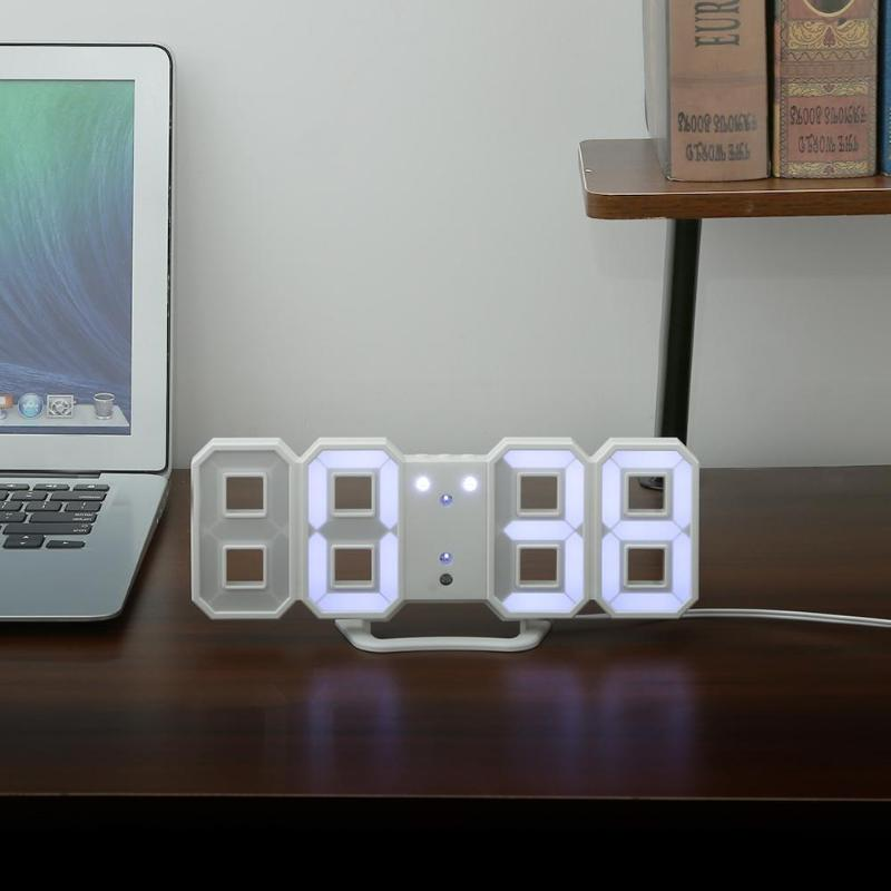 3D LED Digital Clock With Night Modern Electronic Table Watch Wall Hanging 24/12 Hour Date Temperature Display Timer Alarm Clock