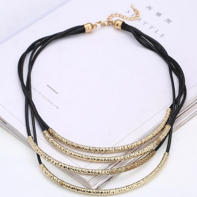 67f98f850354 2018 nuevo estilo multicapa collares gargantilla para mujeres de plata de  oro colgantes de Metal Cadena
