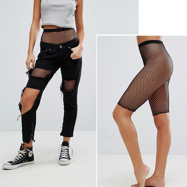 5fa23ee0fdeca8 2018 New Women Sexy Fishnet Mesh Legging Cycling Shorts Hot Pants Elastic  Black Underwrear Fashion-in Tights from Underwear & Sleepwears on  Aliexpress.com ...