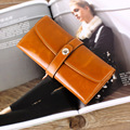 Hot Sale Oil Wax Leather Wallet Female Wallets With Card Holder Hasp Genuine Leather Women Wallet Fashion Long Purses For Female