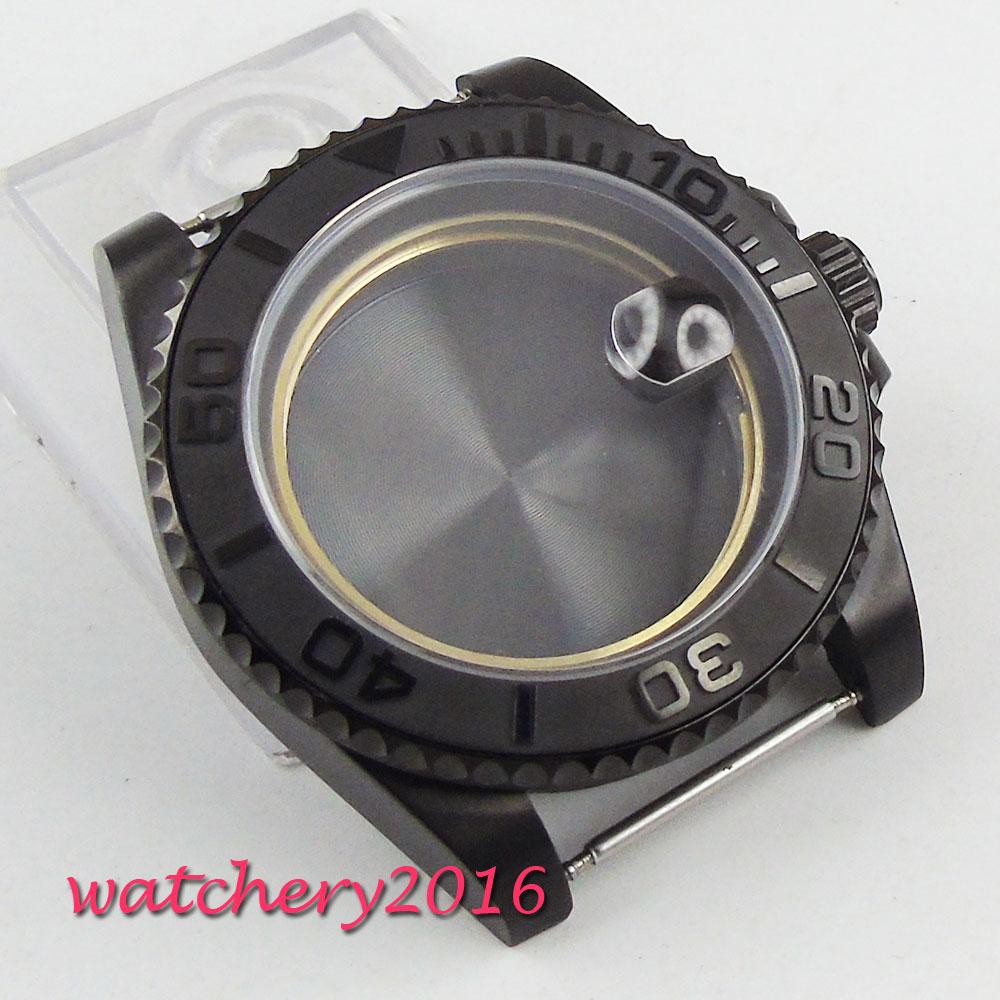все цены на 40mm PARNIS sapphire glass ceramic PVD bezel Watch Case fit eta 2824 2836 movement онлайн