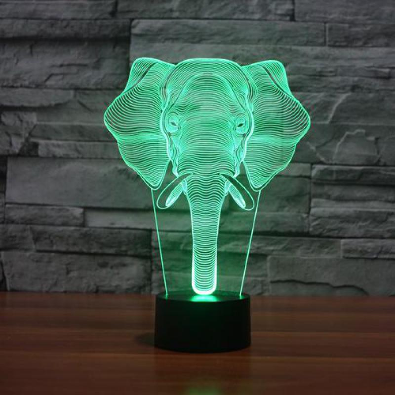 2017 elephant colorful 3D lamp LED acrylic Table Lamps visual stereotouch gift Desk Lam Powerbank Luminaria 3d Led Night Light