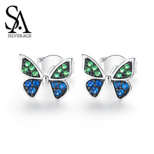 SA SILVERAGE Butterfly Sterling Earrings Elegant Silver 925 Woman Original Design 2019 New Tide Simple Female Small Temperament