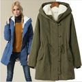 Ягнят шерсти женщин подкладки Толстовки Женские зимние пальто теплое длинное пальто куртки хлопка одежды тепловые парки W-018