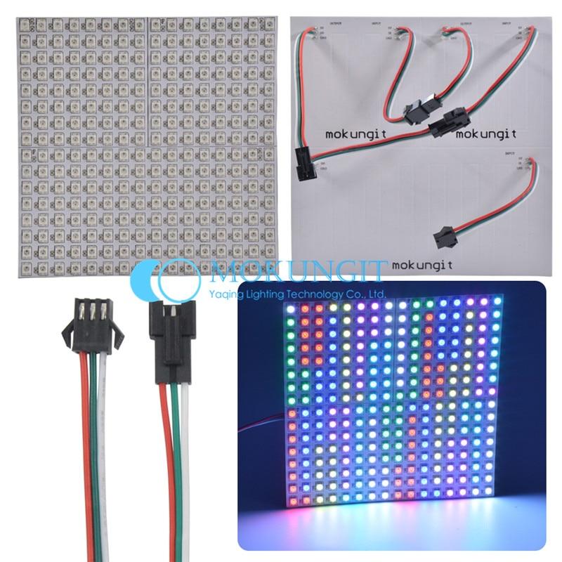 Mokungit 16x16 8x32 8x8 Pixels SK6812 WS2812B Digital Flexible LED Panel Individually addressable Full Dream Color DC5V