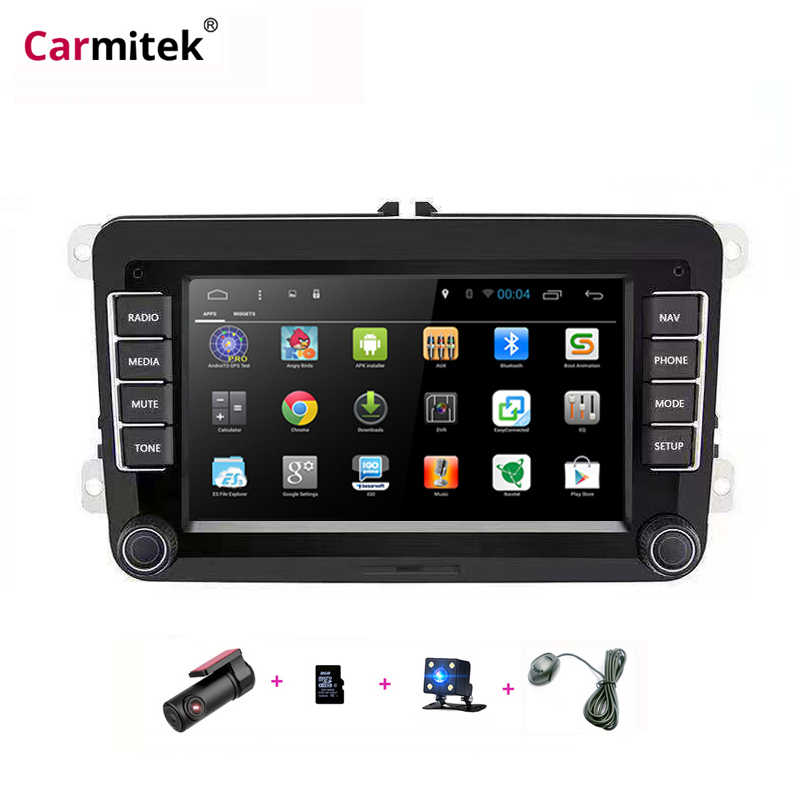 Android Multimedia Radio GPS Navigasi Double Din Untuk VW Polo Sedan Scirocco Caddy Passat B6 B7 DVD Volkswagen Golf 4 5 6