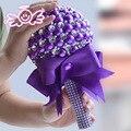 Панк Фиолетовый Золотая Брошь Свадебный Рука Букеты Золото Кристалл Свадебный Букет Шелковый Невесты Золотые Украшения Букетов