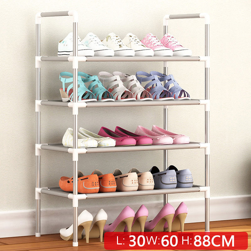 Simple Multi Layer Shoe Rack Nonwovens Easy Assemble Storage Shelf Metal Standing  DIY Shoes Cabinet Living Room Furniture