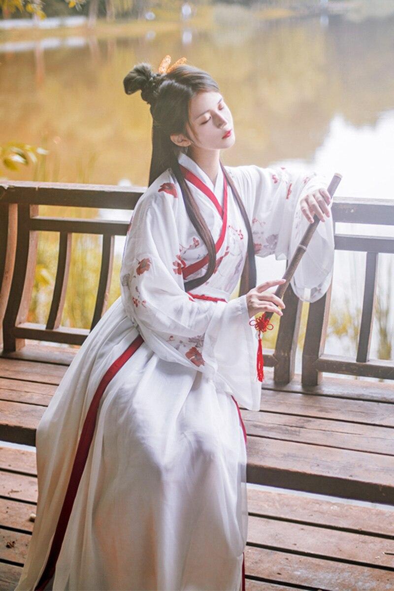 2019 an rouge hanfu femmes chinois traditionnel costume national jeune style vêtements ventilateur yangko scène danse vêtements costu