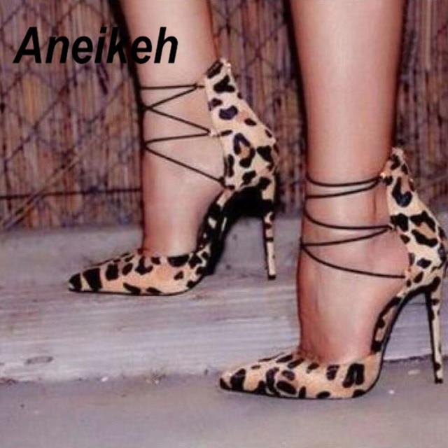 Aneikeh/Для женщин любимые пикантные леопардовые замшевые кожаные остроносые туфли-лодочки обувь мелкий разрез на шнуровке обтянутый каблук обувь на шпильке