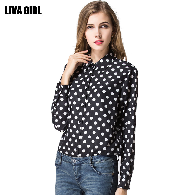45841c9d95e 2015 European Black Polka Dot Chiffon shirt size d...US  12.10. Europe set  2015 female ...