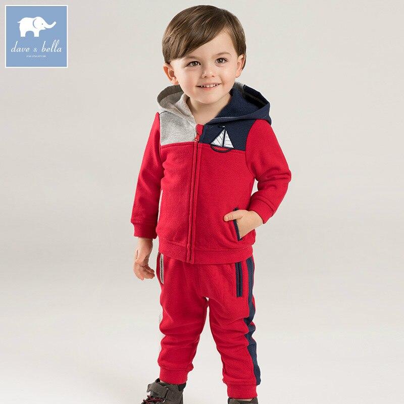 Dave bella automne bébé garçons manches longues ensembles de vêtements pour bébé à capuchon manteau + pantalon 2 pièces tenues enfants boutique costumes