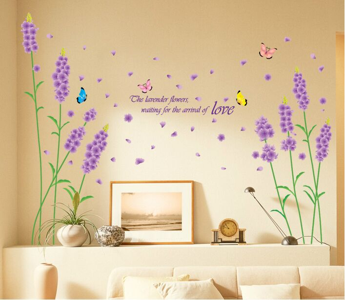 Lavender Romantic Beauty Bedroom Wall Sticker Fashion Butterfly Wall Poster  TV Room Beautiful Wallpaper Home Decor In Wall Stickers From Home U0026 Garden  On ...