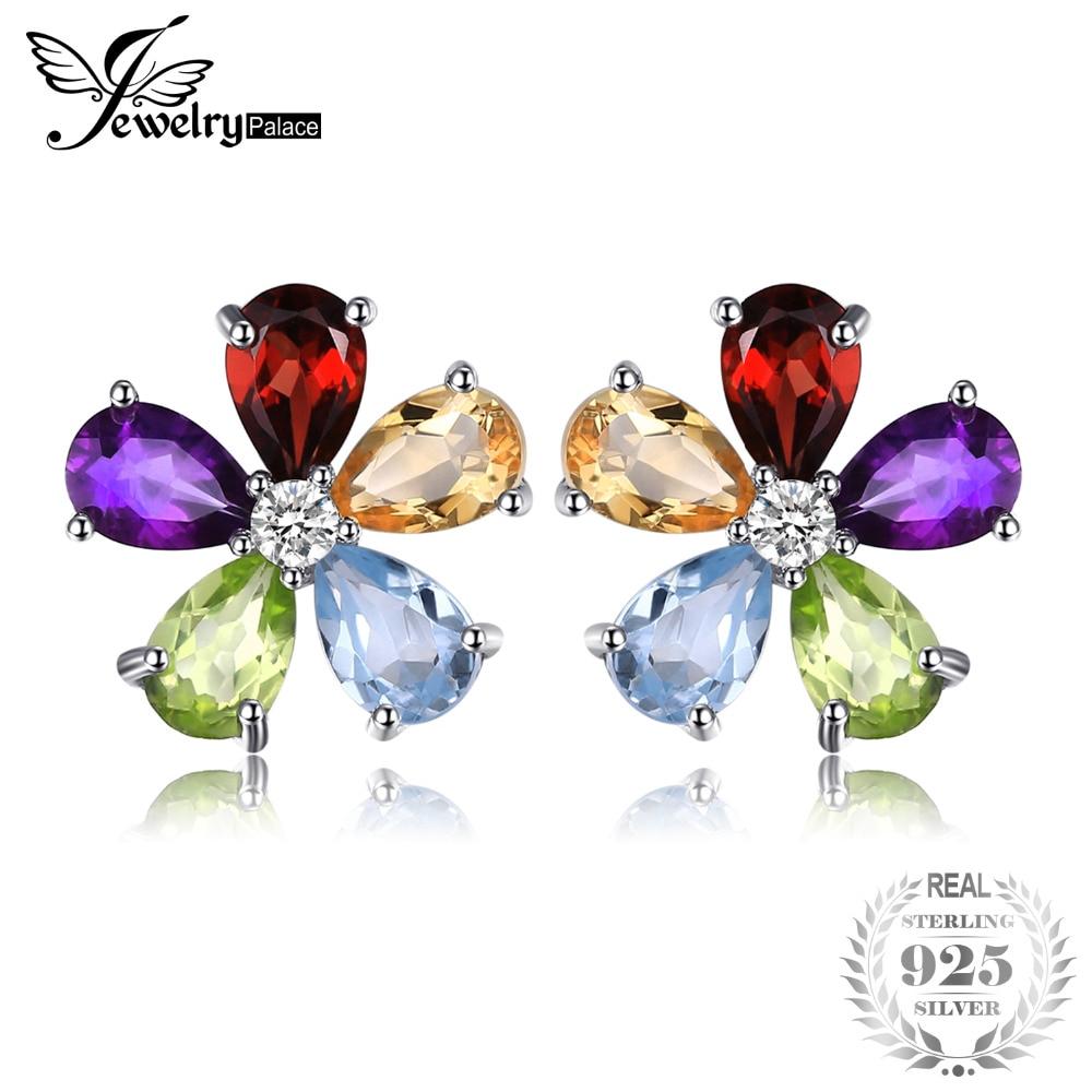 все цены на JewelryPalace Flower 4.3ct Multicolor Natural Amethyst Citrine Garnet Peridot Blue Topaz Stud Earrings 925 Sterling Silver онлайн