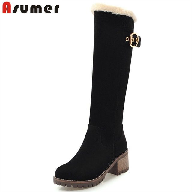 ASUMER Plus size 34-43 New 2018 Knee High Boots Square Heel Winter Snow Boots Round Toe Warm Platform Fashion Ladies Shoes